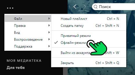 Пункт Оффлйн-режим